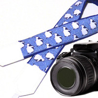 Pinguins camera strap. DSLR / SLR Camera Strap. Camera accessories. Camera strap for Nikon, Canon, Sony, Panasonic, Fuji and other cameras.