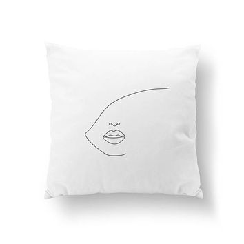 Face & Big Lips Pillow, Woman Art, Cushion Cover, Throw Pillow, Abstract Female Face, Beauty Decor, Bed Pillow, Home Decor, Black And White