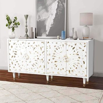 4 Door Wooden Sideboard with Engraved Sunburst Design Front, White and Gold By The Urban Port