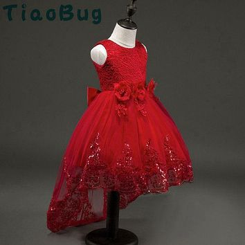 TiaoBug Elegant Tail Flower Lace Communion Prom Dresses Children's Girl Ball Gowns Dress Party Frocks Bridesmaid Glitz Vestidos