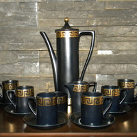 Coffee/Tea Set, Portmeirion-Greek Key-Coffee Pot, 6 cups and Saucers, Creamer and Sugar-Black/Gold designed by Susan Williams-Ellis-1965