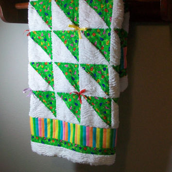 Chenille baby quilt -Baby Girl Quilt - Minky Blanket - Ladybug Baby quilt