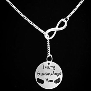 Infinity I Call My Guardian Angel Mom In Memory Remembrance Y Lariat Necklace