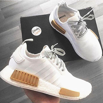 Adidas NMD Reflective shoelace Fashion Trending Running Sports Shoes White-Golden
