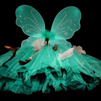 Turquoise and Black tutu and wing dress up set with hanging beads and feathers