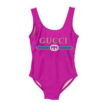 GUCCI Swimmer Swim Tan Top Vest Shirt V Neck Women Letters Bottoming Clothes-4