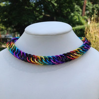 Tie-Dye Rainbow Half Persian Dog / Cat  Chainmaille Collar with or without Breakaway Safety Clasp - Ready To Ship