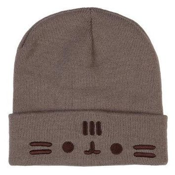 Pusheen The Cat Face Officially Licensed Unisex Cuff Beanie Hat - One Size