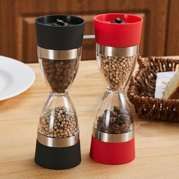Manually 2 in 1 Hourglass Shape 18cm Dual Salt Pepper Mill Spice Grinder Pepper Shaker for Kitchen Cooking Tools Easy to Clean