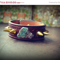 ON SALE LUX Recycled Leather Turquoise Gemstone Spike Stacking Cuff