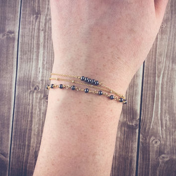 Gold layered bracelet set | Tiny gunmetal bracelet, Wire wrapped beaded bracelet, Satellite chain bracelet, Stacking bracelets