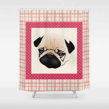 Pink Plaid Border Pug Shower Curtain by pugmom4