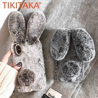 Luxury Rabbit Fur Case For iPhone X 8 7 6 6S Plus Furry Soft TPU Cover For Samsung Galaxy S8 Plus S7 S6 edge Lovely Phone Cases