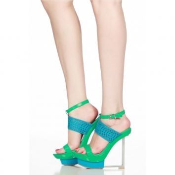 Turquoise Faux Leather Ankle Strap Angular Platform Heels @ Cicihot Heel Shoes online store sales:Stiletto Heel Shoes,High Heel Pumps,Womens High Heel Shoes,Prom Shoes,Summer Shoes,Spring Shoes,Spool Heel,Womens Dress Shoes
