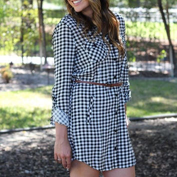 Starting Fresh Plaid Tunic Dress