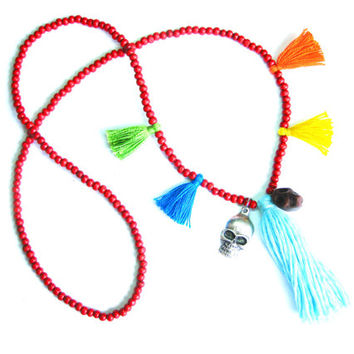 Wooden Bead Tassel Necklace - Skull Necklace - Red Beaded Necklace - Wooden Bead Necklace - Chunky Tassel Necklace - Hippie Necklace