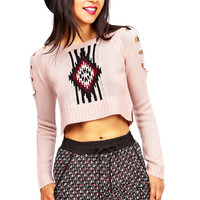 Aztec Glint Cropped Sweater | Cute Clothes at Pink Ice