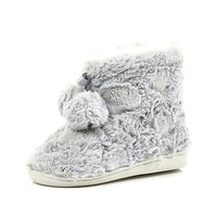 River Island Girls grey faux fur slipper boots