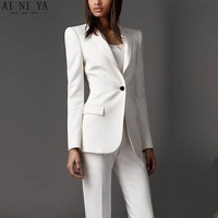 Women Pant Suits High quality Ivory women tuxedos Slim fit suits for women Lapel One button Custom women suits