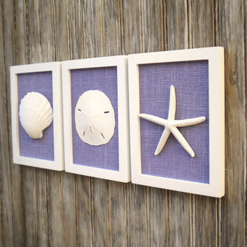Cottage Chic Set of Beach Wall Art, Nautical Decor, Beach House Wall Decor, Sea Shell Art, Beach Decor, Coastal Art, WHITE& LAVENDER Burlap
