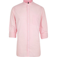 River Island MensPink grandad collar Oxford shirt