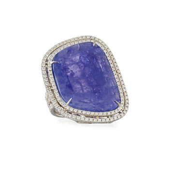 Rina Limor Abstract Tanzanite Ring with Diamond Double-Halo