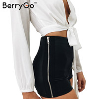 BerryGo Autumn faux leather shorts women Sexy black side zipper skinny girls shorts Cool evening party club high waist shorts