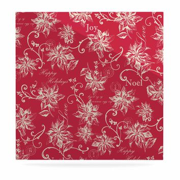 "Jacqueline Milton ""Poinsettia Joy"" Red Holiday Floral Illustration Painting Luxe Square Panel"