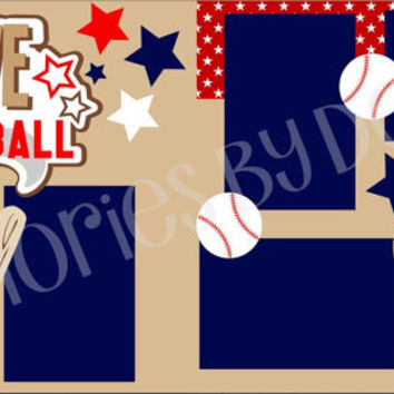 Baseball Premade 2-page 12 X 12 Scrapbooking Page Layout or Page Kit