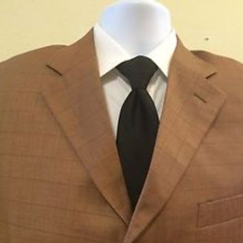 Vogue Virile Suit Jacket Blazer Coat Dark Tan Brown Windowpane Duel Vents 39 S