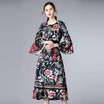 Print Flare Sleeve Women Dress O_Neck Slim Mid-Calf Length Female Pretty Dress