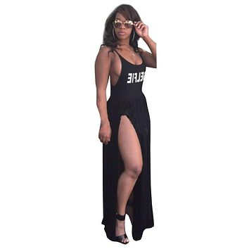 Summer Strap Pleated Long Split Dress Sexy Backless Letter Printed Vintage Maxi Dress Club Outfit Women Party Dresses