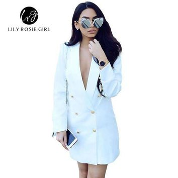 ONETOW Casual Autumn Work White Long Sleeve Suit Blazer Women Double Breasted Ladies Blazers 2016 Winter Coat Jacket Office Outwear