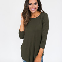 Solid Curved Hem Basic- Olive