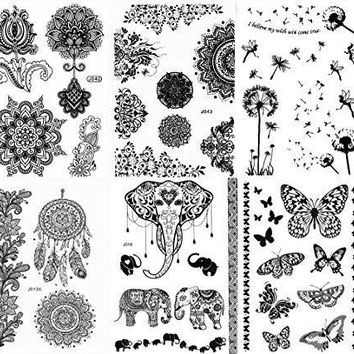 Black Henna Body Paints Temporary Tattoo Designs (Pack of 6 Sheets)