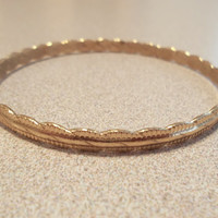 Vintage 80's Delicate Detailed Rose Gold Engraved Twisted Pattern Bangle Bracelet Fashion Jewelry Ladies Gift Petite Fashion Accessory