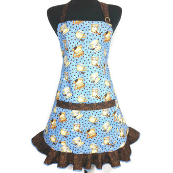 Coffee Cups Apron , Blue with chocolate Ruffle , Retro Barista , Kitchen Decor