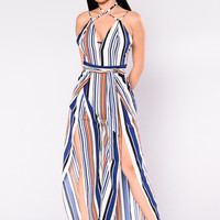 Stripe Me Up Jumpsuit - Off White/Navy