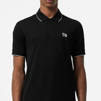 BURBERRY 2019 new contrast color men's striped cotton POLO shirt short-sleeved T-shirt #3