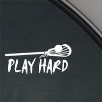 Play Hard Lacrosse Decal Car Truck Window Sticker