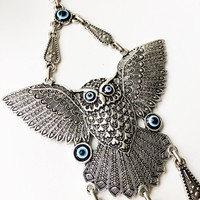 Evil eye wall hanging, owl evil eye wall hanging, evil eye decor, metal charm wall decor, turkish evil eye, glass evil eye bead, eye charm