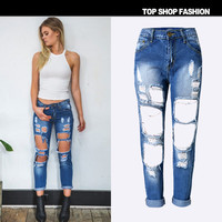 Hot Sale Women's Fashion Ripped Holes Denim Pants Cropped Pants [6365922116]