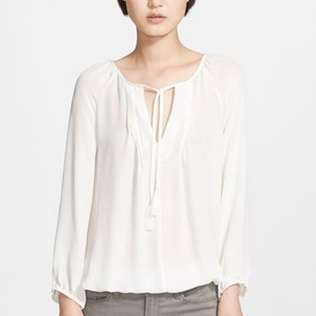 Women's Joie 'Lindrall' Split Neck Silk Blouse,