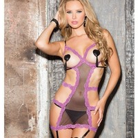 Shirley of Hollywood EL-SOH-25523 Open Bust Gartered Chemise