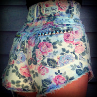 Vintage High Waisted Studded Cut Off Floral by TrueBlueDryGoods