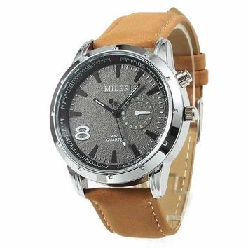 Sueded Leather 8 Watch in Camel For Men or Women
