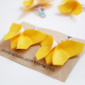 Yellow Origami Butterfly Hair Clips