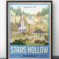 Stars Hollow Poster - Vintage Travel Poster - Inspired by Gilmore Girls (Blue Version)