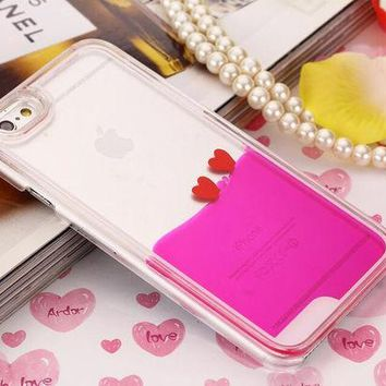 LMFEJ6 Heart Dynamic Hot Pink Liquid Glitter Sand Quicksand Star Bling Clear iPhone case Phone Case