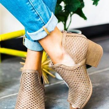 Peep-Toe Laser-Cut Ankle Booties (Taupe)